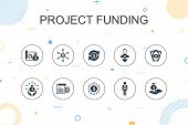 Project Funding Trendy Infographic Template. Thin Line Design With Crowdfunding, Grant, Fundraising, poster
