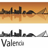 foto of valencia-orange  - Valencia skyline in orange background in editable vector file - JPG