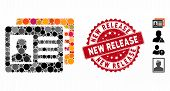 Collage Patient Accounts Icon And Grunge Stamp Seal With New Release Phrase. Mosaic Vector Is Create poster
