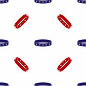 Blue And Red Leather Fetish Collar With Metal Spikes On Surface Icon Isolated Seamless Pattern On Wh poster
