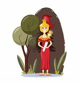Ancient Greek Mythological Goddess Athena Vector Cartoon Illustration poster