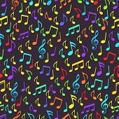 Musical Notes, Melodious Sign And Symbols Seamless Pattern. Multi-colored Musical Notes And Treble C poster
