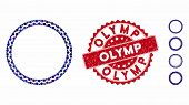 Mosaic Round Rosette Seal Icon And Corroded Stamp Seal With Olymp Phrase. Mosaic Vector Is Composed  poster