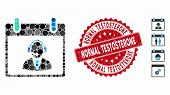 Mosaic Reception Operator Calendar Day Icon And Rubber Stamp Seal With Normal Testosterone Phrase. M poster