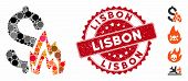 Mosaic Fire Disaster Icon And Distressed Stamp Seal With Lisbon Phrase. Mosaic Vector Is Created Wit poster