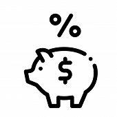 Piggy Bank Pig Money Icon Vector. Outline Piggy Bank Pig Money Sign. Isolated Contour Symbol Illustr poster