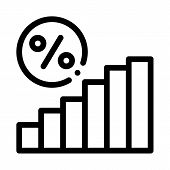 Interest Rising Statistics Icon Vector. Outline Interest Rising Statistics Sign. Isolated Contour Sy poster
