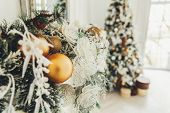 Classic Christmas New Year Decorated Interior Room New Year Tree. Christmas Tree With Gold Decoratio poster