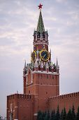 Sightseeing In Moscow Kremlin Clock Tower Spasskaya. poster