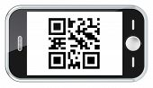 image of qr codes  - Isolated smartphone with a sample QR Code - JPG