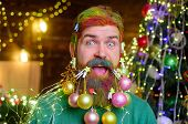 Winter Holidays. New Year Party. Decorated Beard. Bearded Man With Decorated Beard. Christmas Decora poster