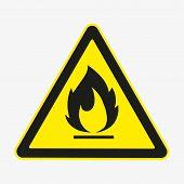 Flammable Fire Hazard Warning Symbol On Yellow Triangular Sign. Vector. poster