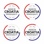 Set Of Four Croatian Icons, English Title Made In Croatia, Premium Quality Stickers And Symbols, Int poster