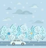 Motorway. Winter Road, Car, Road Signs And Snow. Atoban. Car Moving On Highway Road. Road Trip. poster