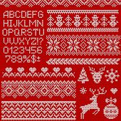 Knitted Sweater Patterns, Elements And Alphabet For Christmas, New Year Or Winter Design. Vector Set poster