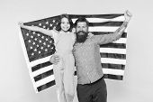 We Live Under The Flag. Father And Little Child Holding American Flag On Independence Day. Patriotic poster
