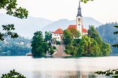 Bled Lake The Wonderful Travel Destination Of Slovenia, Europe. Island In The Bled Lake. Dramatic Eu poster