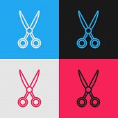 Color Line Scissors Hairdresser Icon Isolated On Color Background. Hairdresser, Fashion Salon And Ba poster