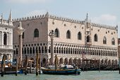 Venice, Italy: Waterfront View At Doges Palace, View From Gondola Ride. poster