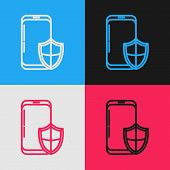 Color Line Smartphone, Mobile Phone With Security Shield Icon Isolated On Color Background. Security poster