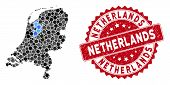 Mosaic Netherlands Map And Circle Seal. Flat Vector Netherlands Map Mosaic Of Scattered Spheric Item poster