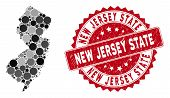 Mosaic New Jersey State Map And Circle Stamp. Flat Vector New Jersey State Map Mosaic Of Scattered C poster
