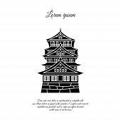 Osaka Castle Vector. Asian Building Or Castle Icon. Japan Castle. Black Symbol On White Background poster