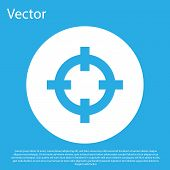 Blue Target Sport For Shooting Competition Icon Isolated On Blue Background. Clean Target With Numbe poster