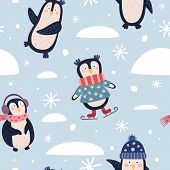 Seamless Pattern With Funny Cartoon Penguins And Snowflakes. Happy Winter Holidays And Holidays. It  poster