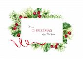Christmas Frame With Pine Branches, Red Berries, Ribbon And Place For Text. Watercolor Illustration  poster