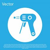 Blue Electric Hot Glue Gun Icon Isolated On Blue Background. Hot Pistol Glue. Hot Repair Work Applia poster