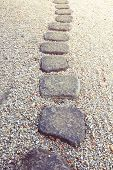 image of stepping stones  - scenic stone way in Japanese zen garden - JPG