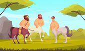 Mythical Creatures Centaurs Three Ancient Greek Half-man Half-horse Chimeras In Meadow Flat Cartoon  poster