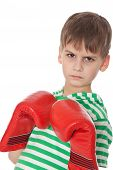 image of pugilistic  - Angry boy pugilist isolated on a white background - JPG