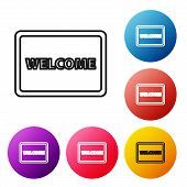Black Line Doormat With The Text Welcome Icon Isolated On White Background. Welcome Mat Sign. Set Ic poster