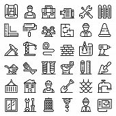Contractor Icons Set. Outline Set Of Contractor Vector Icons For Web Design Isolated On White Backgr poster