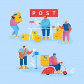 People In Post Office Send Letters And Parcels. Postmen Deliver Mail And Packages To Customers. Mail poster