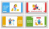 Post Office Employees Website Landing Page Set. Mailman Occupation And Work. Postman Delivering Mail poster