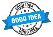 Good Idea Label. Good Idea Blue Band Sign. Good Idea poster