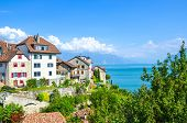 Amazing Winemaking Village Rivaz In The Swiss Lavaux Wine Region. Houses And Vineyard Located On The poster
