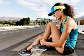 image of ankle shoes  - Runner with ankle injury has sprained and strained ankle - JPG