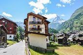 Streets Of Beautiful Alpine Village Zermatt In Switzerland In The Summer Season. Famous Matterhorn M poster