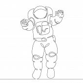 Continuous Single Drawn One Line Astronaut, Astronaut In Space poster