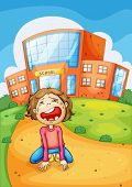 pic of school bullying  - Illlustration of a girl crying at school - JPG