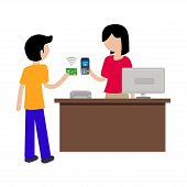 Vector Illustration Concept Of Contactless Payment In Stores, Vector Illustration Hand Of Customer U poster