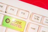 Text Sign Showing Book Hotel. Conceptual Photo An Arrangement You Make To Have A Hotel Room Or Accom poster