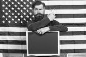 American Style. American Barber Hair Stylist Or Hairdresser American Flag Background. Man Beard And  poster