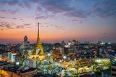 Cityscape Of Bangkok At Wat Trimitr During Twilight, Buddhist Temple, Where Is Travel Destination In poster