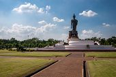Perhaps The Largest Statue Of A Walking Buddha In Phutthamonthon Park Also Spelled Buddha Monthon In poster
