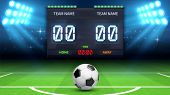 Football Stadium Background. Realistic Soccer Ball In Green Field. Stadium Electronic Sport Scoreboa poster